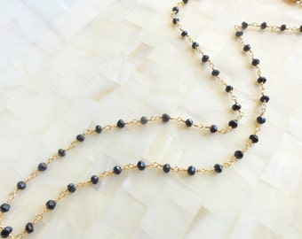 Faceted Black Onyx Rondelle Vermeil Wire Wrapped Chain Necklace (N1711)