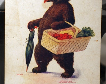 Saturday the little bear goes to market postcard 1908