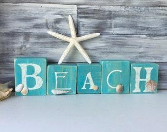 BEACH Decor, cottage decor, Word Art, hand painted wood blocks, Caribbean blue