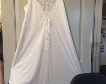 Long  nylon nightgown with lace/mesh top medium by Gilead/Sleeveless/Full sweep/New  without tags/vintage Ivory