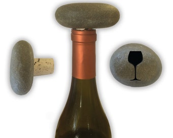 Engraved Symbol Wine Stopper on Natural Stone  - 6981 Wine Glass