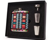 Personalized flask gift set // Aztec design
