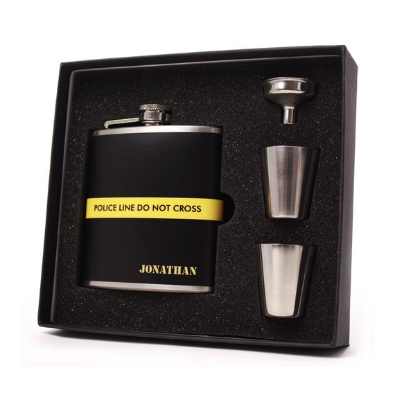 Yellow police line flask gift set // Personalized flask