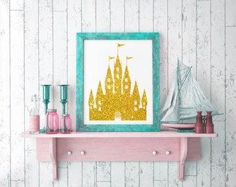 Princess castle wall art / Gold glitter castle digital paper / Glitter wall art / Gifts under 5 / Gold print / printable digital download