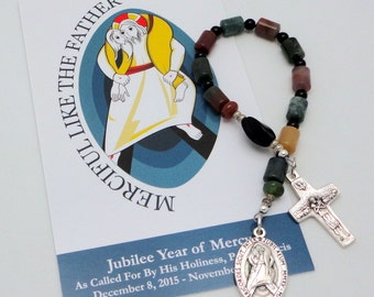 PIF: Pope Francis Single Decade Catholic Chaplet in Fancy Jasper