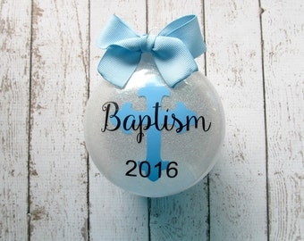 Baptism Ornament - Personalized Baptism Gift - Gift From Godparent - Personalized Christening Gift - Cross Ornament - Personalized Baptism