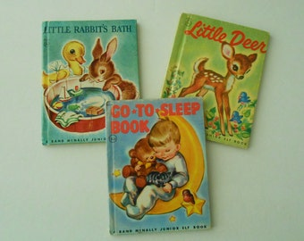 3 vintage Jr Elf Books Little Deer, Rabbit, Go to Sleep 1956-59