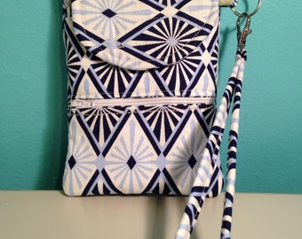 cellphone wallet/wristlet/clutch in blue and white diamond print, quilted wristlet, smartphone case, iphone clutch