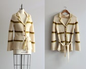 RESERVED 70s 1970s Sweater Duster Cardigan . Cream Knit Cardigan . Long Cardigan