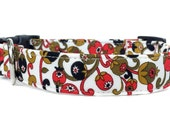 Dog Collar / Winter Dog Collar / Adjustable Dog Collar / Paisley Dog Collar / Floral Dog Collar / Red Black Dog Collar / Olive Dog Collar