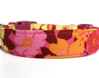 Floral Dog Collar / Pink Orange Dog Collar / Flower Dog Collar / Girl Dog Collar / Dog Collar with Flowers