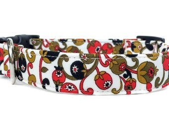 Dog Collar / Floral Dog Collar / Adjustable Dog Collar / Paisley Dog Collar / Red Black Dog Collar / Olive Dog Collar / Floral Berry Collar