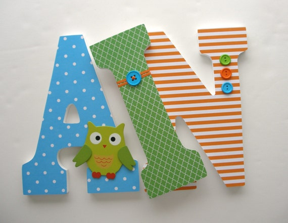 Lime Green Owl Custom Decorated Wooden Letters, Nursery Name Décor, Unisex Bedroom, Hanging Wood Wall Decorations, Birthday Baby Shower Gift