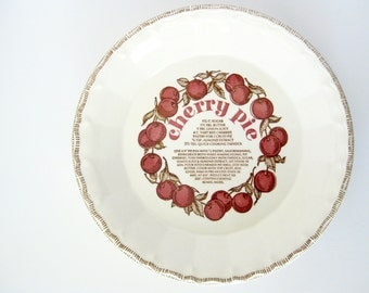 Vintage Ceramic Cherry Pie Plate Baking Dish with Recipe from Royal China Co // Made in USA // Recipe // Vintage Kitchen // Baking