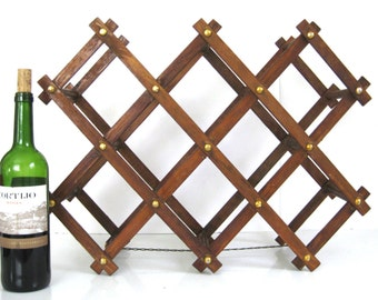 Vintage Mid Centuy Large Accordion Wooden Wine Rack // Metal Chain Stabilizer // Rivet Detail // Large // Collapsible
