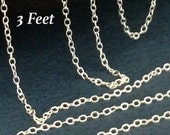 Sterling Silver Cable Chain - Ladies Feminine - 2 x 1.5mm - 3 Feet CH39