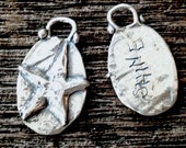 "Sterling Silver Star Charms - 2 ""Shine"" Artisan Pendants or Rustic Dangles  AP10"