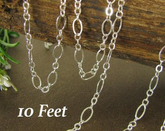Sterling Silver Long Short Chain   Flattened Links - Medium Cable Chain 4.9mm x 2.7mm 10 Ft CH52-10
