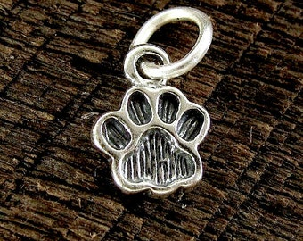 Sterling Silver Paw Print Charms - 2 Small Paw Charms - Best Friend C90