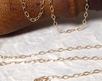 NEW Gold Filled Cable Chain - 3 Feet - Drawn and Flattened Gold Chain - - 3.5 x 2.25 CH18-3ft