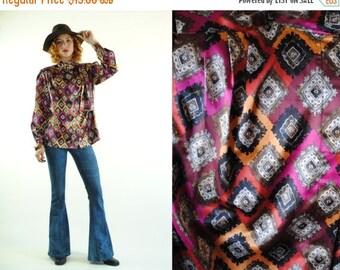 ON SALE 50% 70's Vintage STONES Silky Patterned Neck Wrap Boho Blouse (M)
