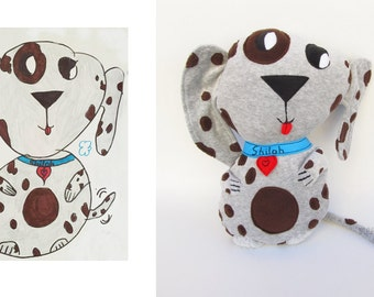 Plush made from your kid drawing Custom made toy Personalized present - MADE TO ORDER