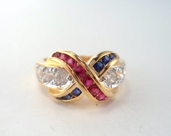 Vintage Sterling 925 Vermeil Hot Pink, Crystal and Blue Synthetic Gemstone Ring Size 7