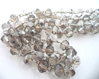Long Grey Crystal Bead Necklace 34 Inches