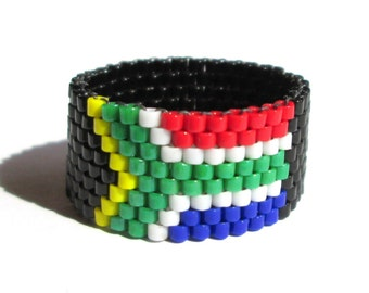South African Flag Bead Ring, South Africa Jewelry, International Travel Jewelry, Seed Bead Ring, Peyote Weave Jewelry