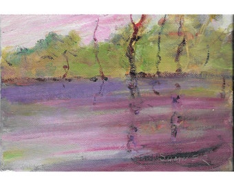 Original abstract landscape oil painting  5x7 Purple abstract river