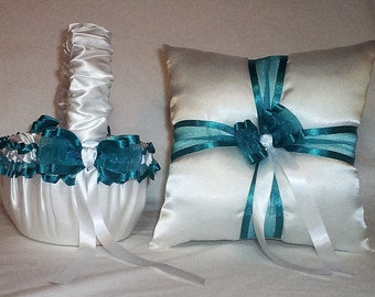 White Satin With Teal  Ribbon Trim Flower Girl Basket And Ring Bearer Pillow Set 2