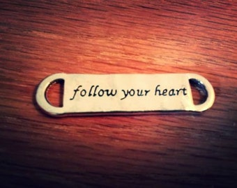 Quote Connector Link Word Link Pendant Quote Pendant Antiqued Silver Follow Your Heart Connector Link 4 pieces