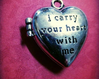 Locket Pendant Photo Locket Quote Locket Heart Locket I Carry Your Heart With Me Antiqued Silver