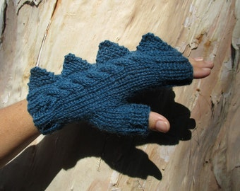 Dragon, dinosaur, monster peacock/teal color  fingerless mittens gloves, wool and alpaca,medium female adult's size