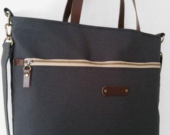 Dark navy front zipper pocket tote / diaper bag / shoulder bag with detachable strap  Design by BagyBags