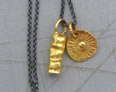24k Solid Gold & Silver Necklace - Gold Pendants on Oxidized Silver Chain - Charm Necklace - READY TO SHIP