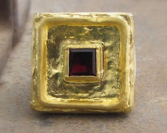 Large Square 24k Gold & Garnet Ring - Gold and Silver Ring - Cocktail Ring - Statement Ring - Big Signet Ring