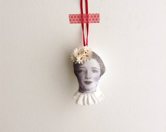 Holiday Decor,ChristmasTree Beaded ornament  OOAK Doll head with Vintage plastic flowers shell buttons crown - timo handmade eco fabric doll