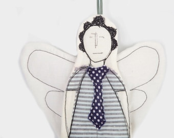 Christmas tree ornament - Black & white Guardian Angel in striped dress and a blue polka dot tie . timohandmade fabric wall art ,Small Gift
