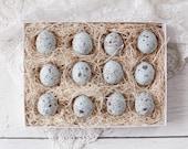 Blue Eggs - One Dozen Spun Cotton Eggs, Boxed Set