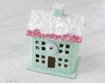 Vintage Style Putz House - Jadeite Green House Christmas Decoration