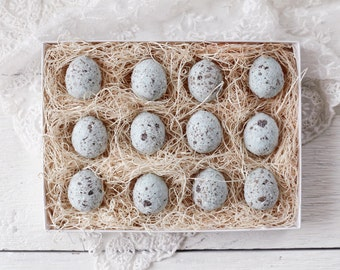 Blue Eggs - One Dozen Spun Cotton Eggs, Boxed Set