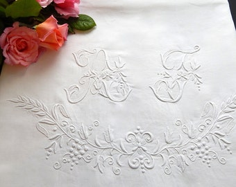 Wide Vintage Linen French Bed Sheet with Embroidery for Bride's Trousseau