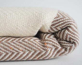 SALE 50 OFF/ Herringbone Blanket / Brown / Bedcover, Beach blanket, Sofa throw, Traditional, Tablecloth