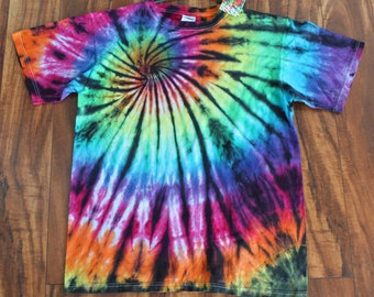 Tie dye t shirt with black accents adult medium