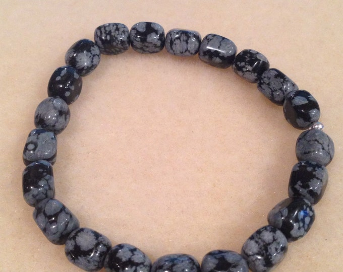 Snowflake Obsidian 8mm Nugget Stretch Bead Bracelet with Sterling Silver Accent