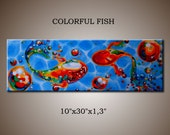 "COLORFUL FISH PAINTING Original Fine Art Acrylic on Stretched Canvas 10""X30""X1,3"" Colorful Abstract Contemporary  Art"