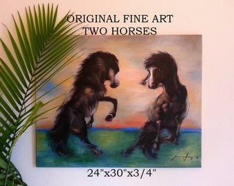 """TWO HORSES PAINTING Large Original Fine Art 24""""X30""""x1/2"""" Acrylic on Stretched Canvas Ready to Hang Colorful Painting Modern Abstract Art"""