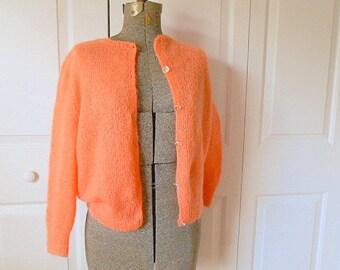 Vintage loose knit wool salmon colored Cardigan