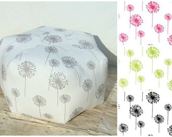 Dandelion floor pouf / foot stool / floor pillow / pink - grey - black - lime- 24 inch - floor pouf - ottoman pillow - floor cushion - stool
